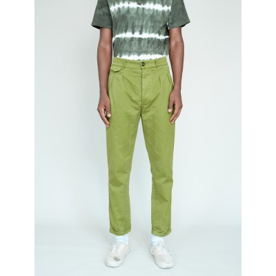 Magill Garment Dyed Pleated Chino - Olive rental IUSX9164