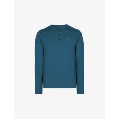 ALLSAINTS Henley long-sleeved cotton-jersey top Extra Large Fitted RBZRE6VH