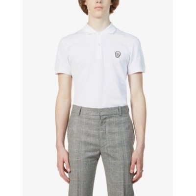 ALEXANDER MCQUEEN Men's Skull-patch slim-fit cotton polo shirt new look GY6132XO