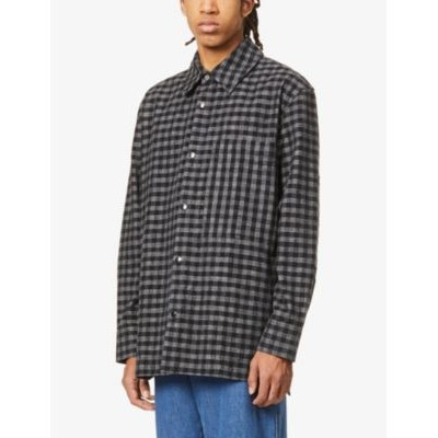 ACNE STUDIOS Mens Osmano checked oversized cotton-blend jacket Winter Business Casual LXPRVA8K