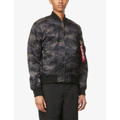ALPHA INDUSTRIES Men's MA-1 camouflage-pattern branded-pull shell jacket Coolest Shop OBL8G2PU
