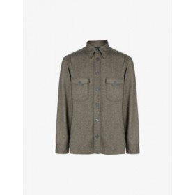 ALLSAINTS Men's Carabinier long-sleeved oversized-fit recycled-polyester shirt Business M3IQNIX5