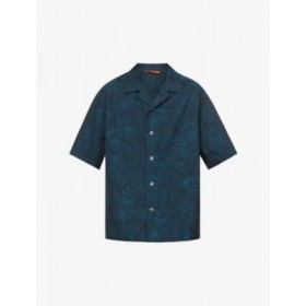 BARENA VENEZIA Men's Floral-embroidered relaxed-fit cotton shirt Business on sale online 7OFHJ5PP
