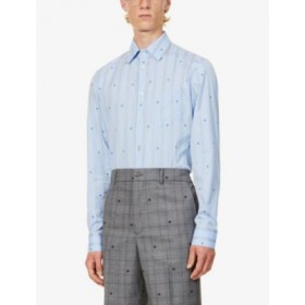 GUCCI Man Bee-embroidered tailored-fit cotton shirt comfortable DZI6IOSV