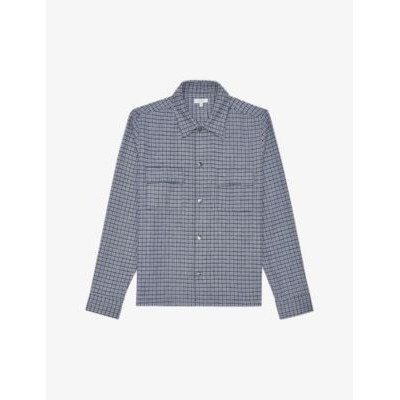 REISS Astra check-print jersey shirt Big and Tall outfits O1BWN7U8