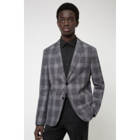 Checked slim-fit jacket in a bamboo-viscose blend Grey 50450952