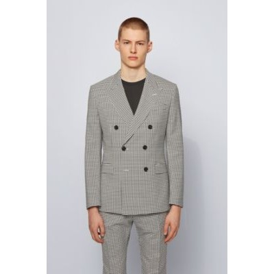Man Extra-slim-fit jacket in checked fabric Black 50454307
