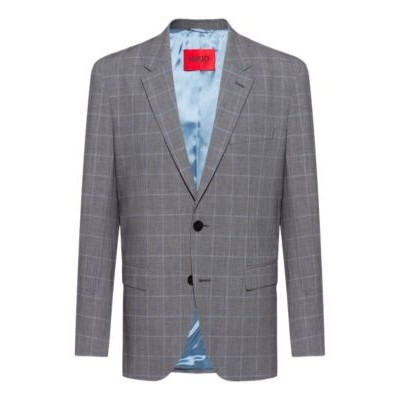 Man Regular-fit jacket in checked stretch cotton Grey 50450111