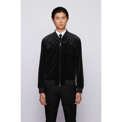 Man Slim-fit bomber jacket in micro-patterned cotton Black In Sale 50452039