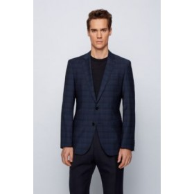 Man Slim-fit jacket in a checked wool blend Light Blue 50450413