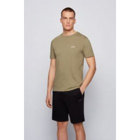 Cotton jersey T-shirt with curved logo Dark Green 2021 New 50412363