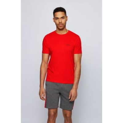 Cotton jersey T-shirt with curved logo Red Or Sale Near Me 50412363
