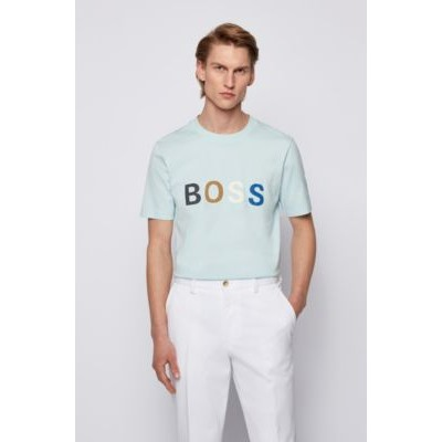 Cotton-jersey T-shirt with multi-colored logo Light Blue In Sale 50452836