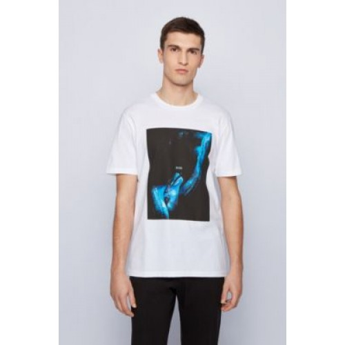 Cotton T-shirt with glow-in-the-dark print White Cut Off 50453648