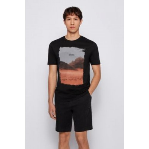 Crew-neck T-shirt in Pima cotton with photographic print Black 50453656