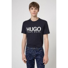 Crew-neck T-shirt in pure cotton with logo print Dark Blue In Sale 50447980
