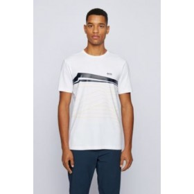 Graphic-print T-shirt in organic-cotton stretch jersey White on sale online 50448299