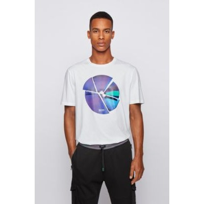 Graphic-print T-shirt in washed Pima cotton White 50446482