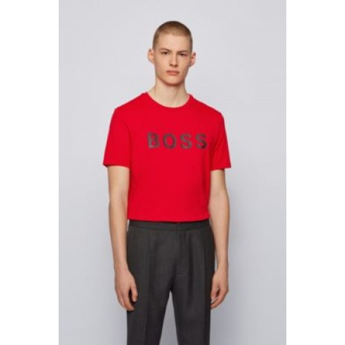 Logo T-shirt in a single-jersey cotton blend Red 50430889