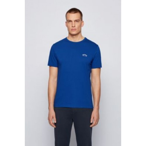 Man Cotton jersey T-shirt with curved logo Blue on style 50412363