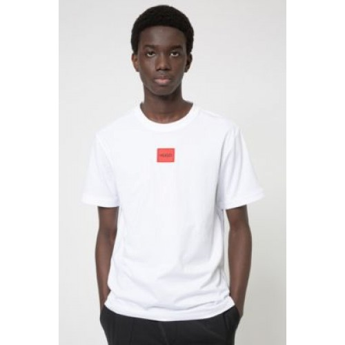 Man Regular-fit cotton T-shirt with red logo label White 50447978