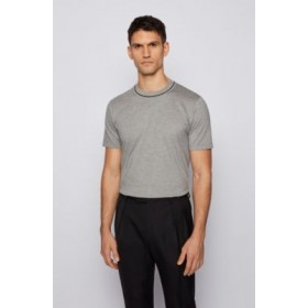 Man Regular-fit T-shirt in jacquard-knitted cotton and silk Silver Cheap 50453142