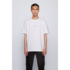 Man Relaxed-fit T-shirt in stretch cotton with layered logo White lifestyle 50418749