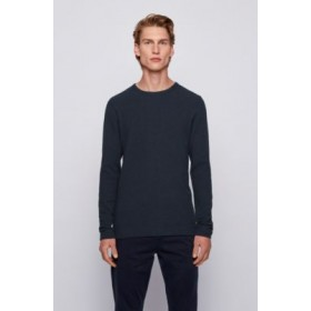 Man Slim-fit T-shirt with long sleeves in waffle cotton Dark Blue 50401846