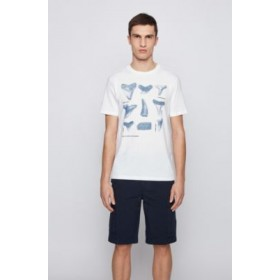 Men Regular-fit T-shirt in cotton with shark-tooth print White boutique 50450896