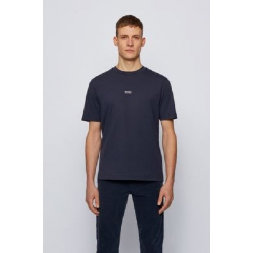 Men Relaxed-fit T-shirt in stretch cotton with layered logo Dark Blue Fitted 50418749