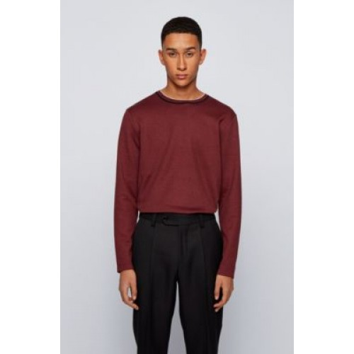 Men Slim-fit T-shirt in mouliné cotton with long sleeves Dark Red 50443813