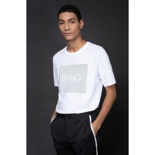 Men's Crew-neck T-shirt in cotton with reflective logo print White The Most Popular 50442929