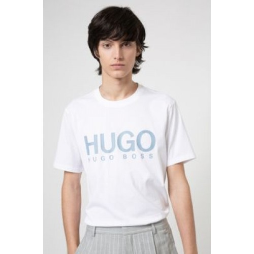 Men's Crew-neck T-shirt in pure cotton with logo print White 50447980
