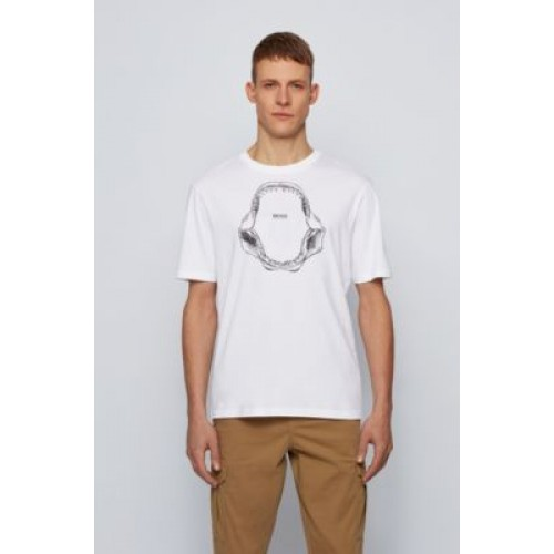 Men's Pima-cotton relaxed-fit T-shirt with shark-jaw print White comfortable 50450923