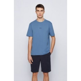 Mens Relaxed-fit T-shirt in stretch cotton with layered logo Light Blue 50418749