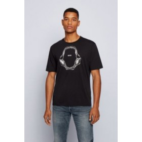 Pima-cotton relaxed-fit T-shirt with shark-jaw print Black 50450923