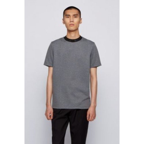 Regular-fit knitted-jacquard T-shirt with logo collar Silver 50450778