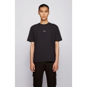 Relaxed-fit T-shirt in stretch cotton with layered logo Black 50418749