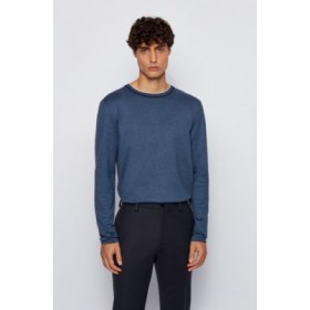 Slim-fit T-shirt in mouliné cotton with long sleeves Dark Blue New 50443813