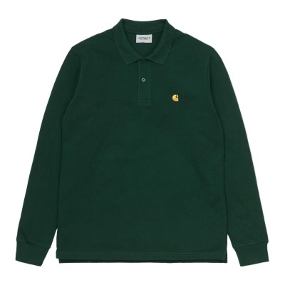 Carhartt Wip L/s Chase Pique Polo - Bottle Green ND9D92UD