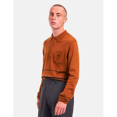Fred Perry Re-Issue Knitted Stripe LS Polo - Hazel sale KKQKGAS9