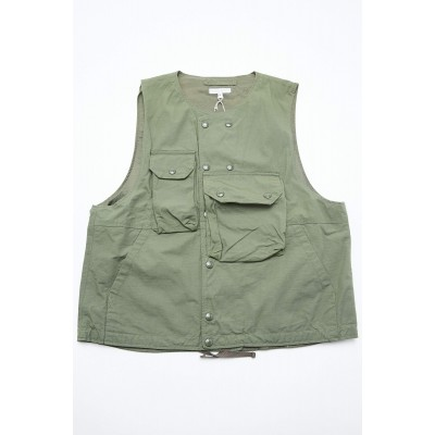 Engineered Garments Cover Vest - Olive Cotton Ripstop Size XXL MOYVUDT0
