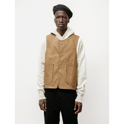 Engineered Garments Over Vest in Cotton Herringbone Twill - Brown Size XL high end O0WGYC83